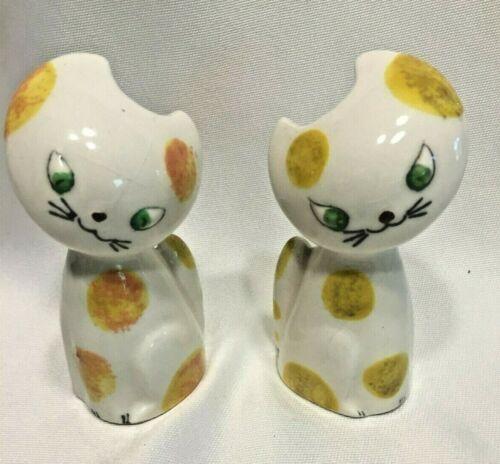 Vintage MCM Kitty Cat Yellow Orange Salt/Pepper Shakers Japan Napco