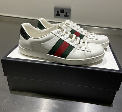 Gucci Men's White Ace Clean Leather Low Top Sneakers Shoes - UK Size 7