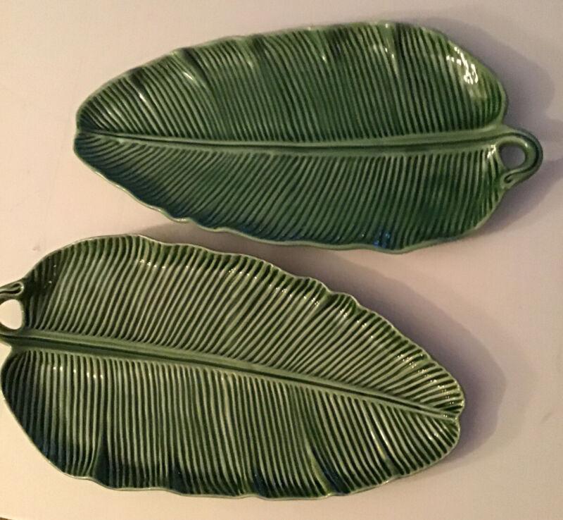 Large BORDALLO PINHEIRO GREEN Palm Frond Leaf Platter Plate Portugal