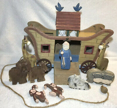 Decorative Noahs Ark Wooden Pull Toy Animals Noah Monkeys Lion Pigs Birds Wood