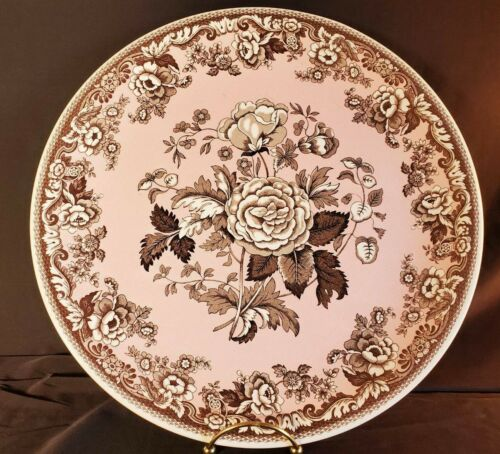 "Spode England Archive Collection British Flowers Rosa Brown Pink 12.75"" Plate"