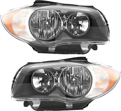 Headlights Headlight Assembly (w/Bulb) NEW Set Pair 08-11 BMW 128i/135i (Bmw 135i Coupe)