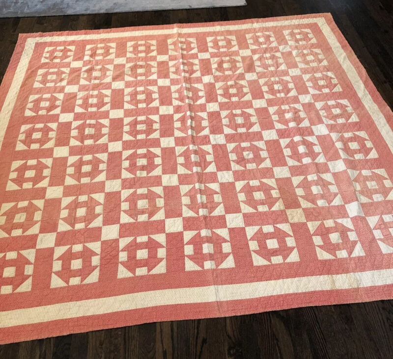 """1800s Pink And  White """"Hole In The Barn Door"""" Pattern Quilt"""