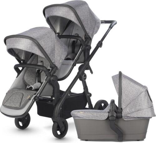 Silver Cross Coast Twin Baby Double Pram System Stroller with Bassinet Limestone