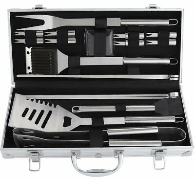 Barbecue Grill Tool Set (BBQ Tools Barbecue Grill Tool Set Kit 19Pcs Stainless Steel With Aluminum Case )
