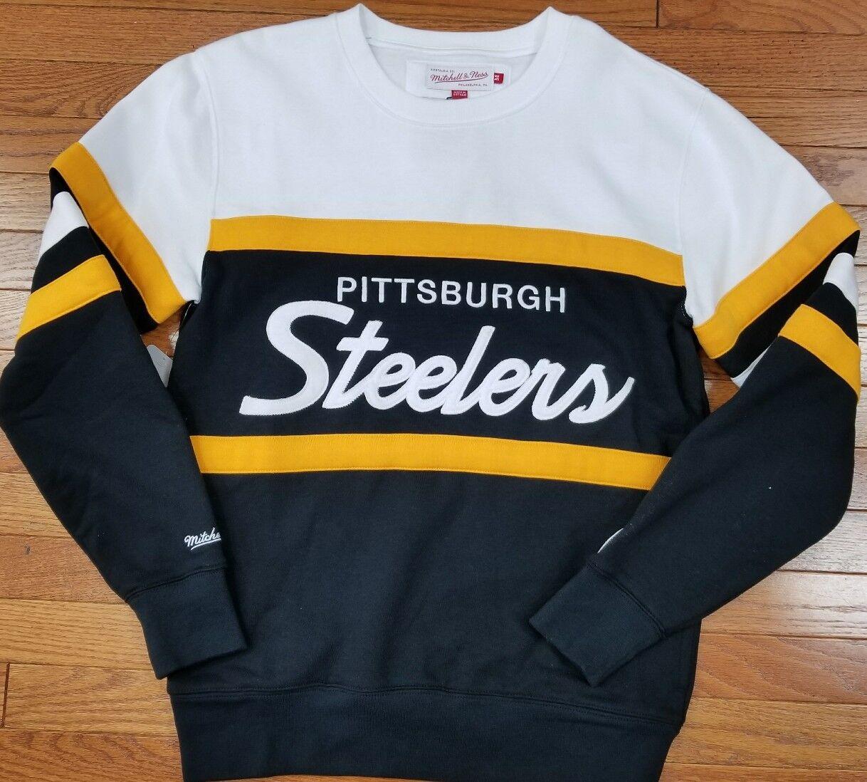 4a71d48b Details about Pittsburgh Steelers Mitchell & Ness NFL Men's Head Coach Crew  Sweatshirt Black