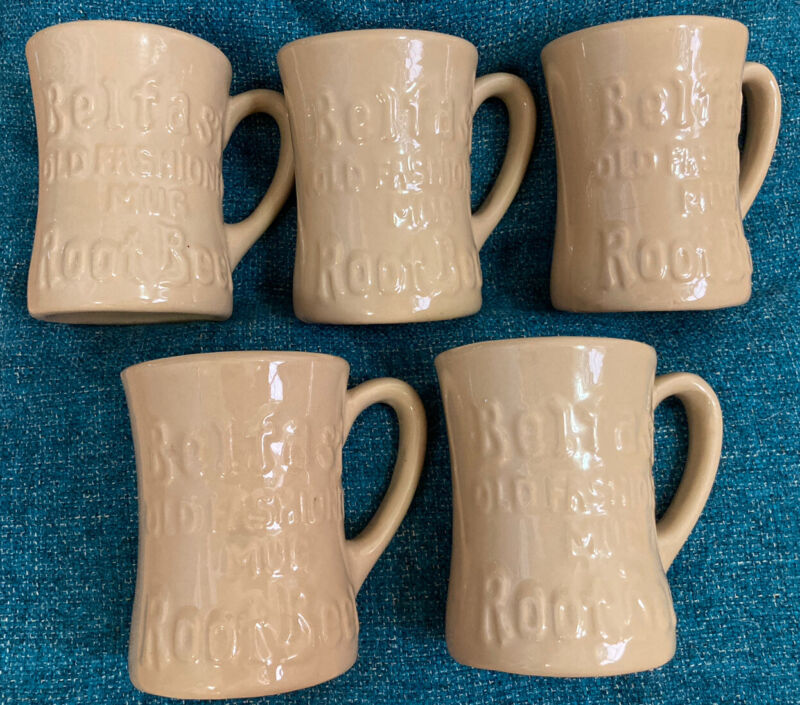 Vintage Belfast Old Fashioned ROOT BEER Set of 5 Mugs Cups Tepco China USA EUC!