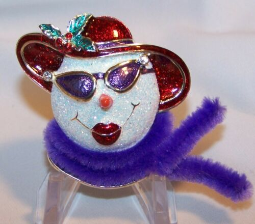 Red Hat Snow Woman Pin Brooch-Glittery Clear Stones-Cat Eye Glasses-Whimsical