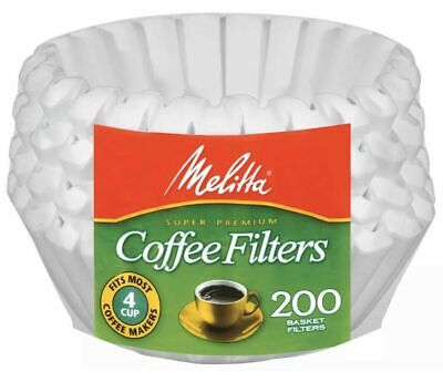 Melitta 4-6 Cup Jr. Basket Paper Coffee Filters White 200 Count Basket Filter Paper