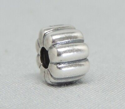 Authentic Pandora Ribbed Clip/Charm/Bead Silver 925 ALE 790163