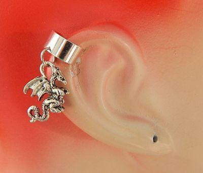 Silver Dragon Charm Drop/Dangle Ear Cuff Handmade NEW Accessories Fashion