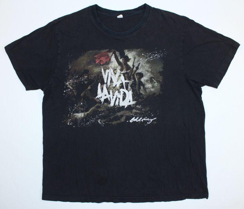 2008 Coldplay Viva La Vida XL Black Concert Band Tour Dates Shirt Double Sided