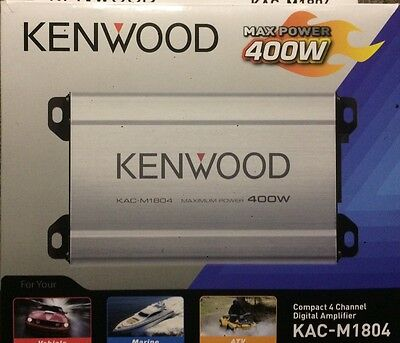 Kenwood KAC-M1804 400 Watts 4-Channel Marine ATV Motorcyle Audio Amplifier