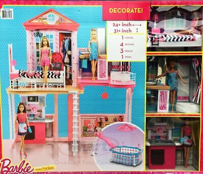 Barbie House With Glam Swimming Pool Includes 3 Barbie Dolls