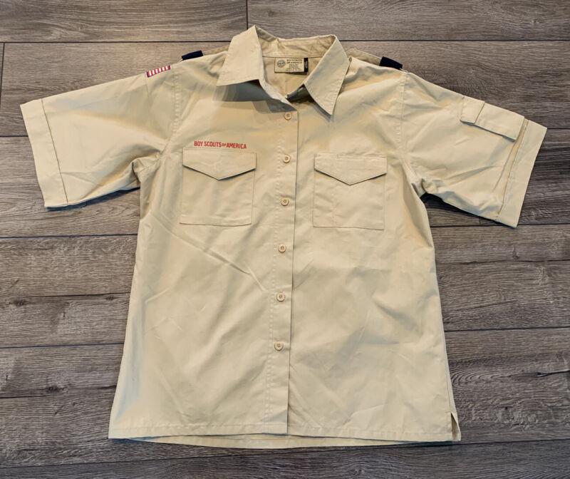 Boy Scout of America Shirt Tan Short Sleeve Ladies Women