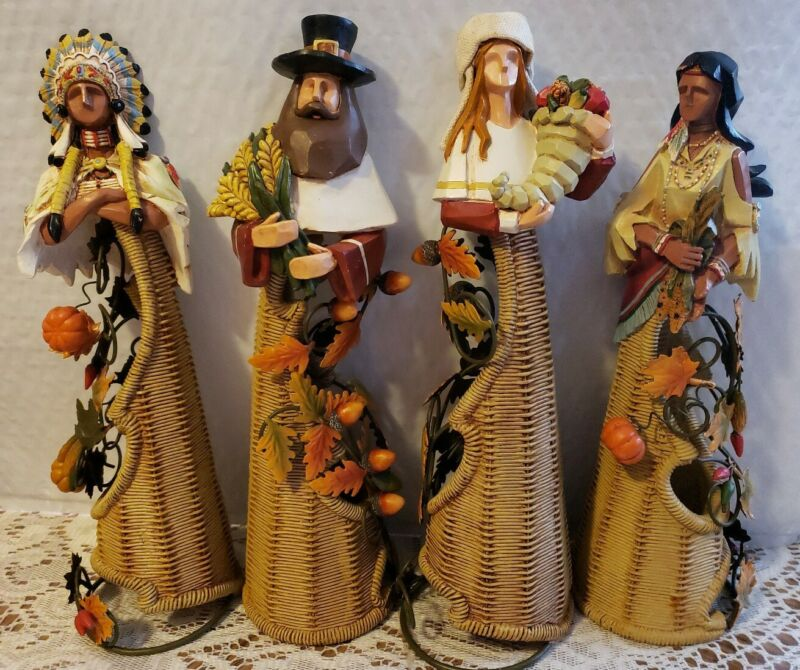 """lot of 4 thanksgiving pilgrim indian wicker figurines 10"""" - 11"""" tall each"""