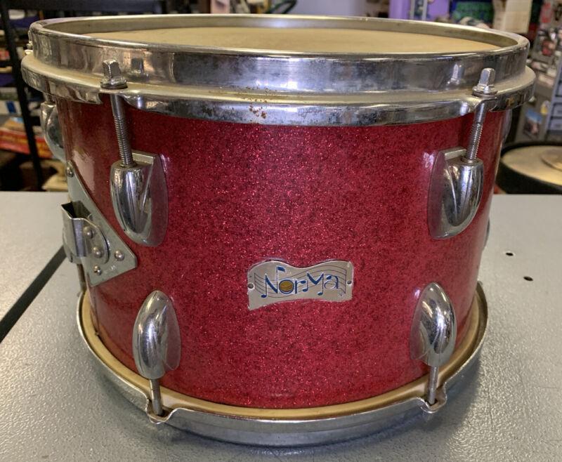 Vintage 1960's Norma Banner Logo Japan Red Sparkle Tom Drum 12x8