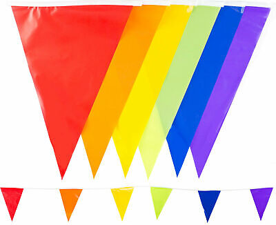 33Ft Multi Colour 10m Bunting 20 Flag Outdoor Garden Home Red Rainbow Pride