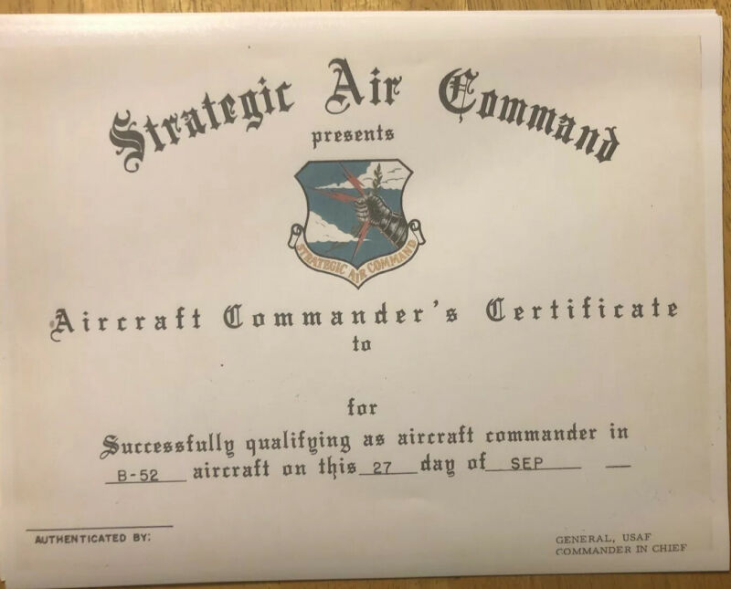 """Strategic Air Command Certificate-Comes Blank-Fill In Own Information- 8.5""""X11"""""""