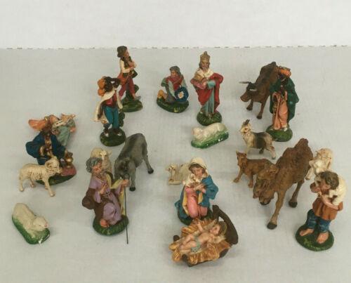 vintage large set nativity manger scene figurines animals shepards wise men