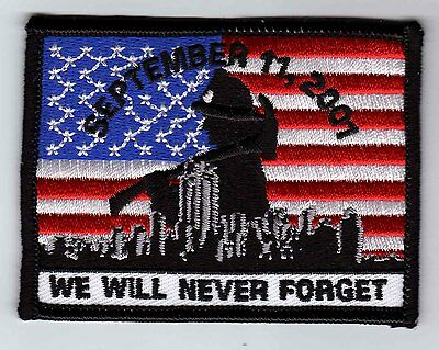 "9-11 memorial patch 911 We Will Never Forget flag patch 3.5"" wide heat seal"