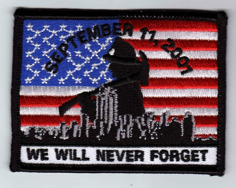 """911 AMERICAN FLAG Patch 9-11 Tribute patch 911 memorial patch iron on 3.5"""" wide"""