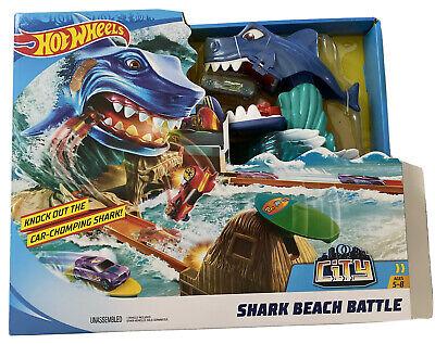 Hot Wheels City Shark Beach Battle Challenge Playset Toys NEW