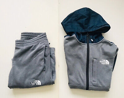 NORTH FACE Youth Junior Large Hoodie Grey Tracksuit Set