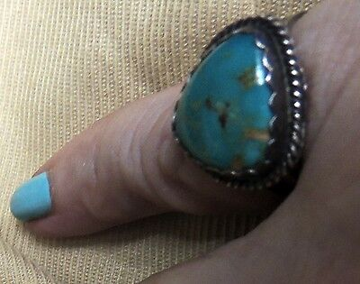 Navajo Old Vintage Gorgeous ROYSTON TURQUOISE Ring Sterling Silver .925 Size 7.5