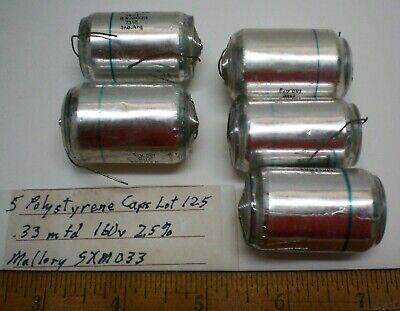 5 Polystyrene Capacitors .33 Mfd160vdc 2.5 Mallorysxm033 Lot 125a Made Usa