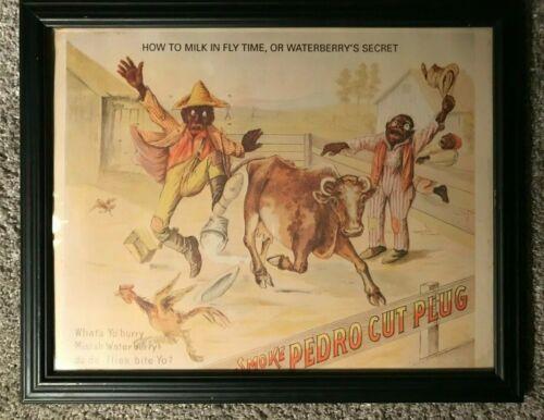 "Estate Nice Vintage Tobacco Advertisement Pedro Cut Plug Black Americana 15"""