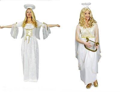 Engel Damen Kostüm Engel Kleid weiß gold Weihnachten Krippenspiel Christkind