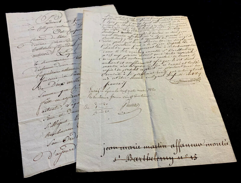 LOT OF TWO MANUSCRIPTS 1820s