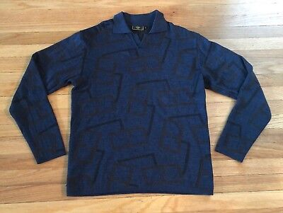 Vintage FENDI POLO Monogram T SHIRT Long Sleeve Mens Large Made In Italy Size 50