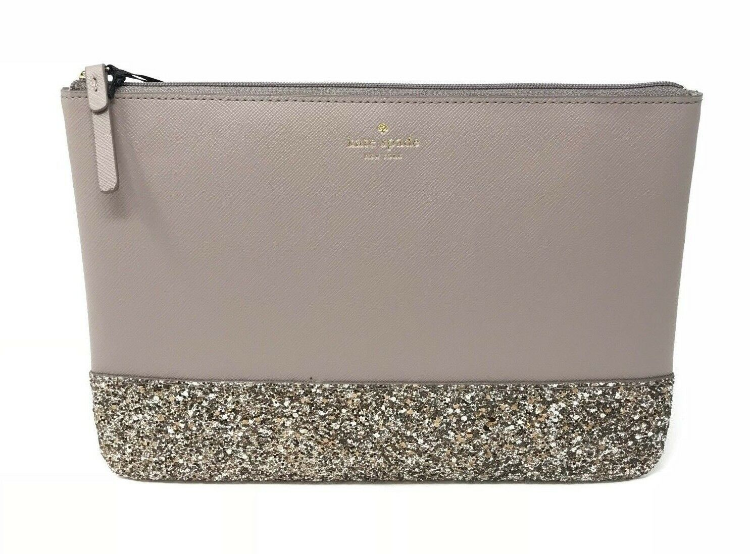 Kate Spade Greta Court Gia Clutch Cosmetic Bag Glitter City Scape Grey WLRU5216