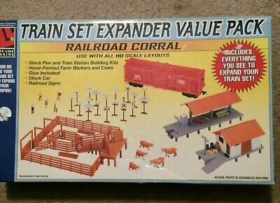 Model Railroad Train Expander set Corral Stock Cow Car RR Sign Christmas gift