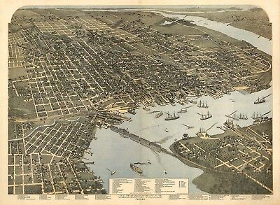Map Jacksonville Florida 1893 Aerial Birds Eye Canvas Art Print
