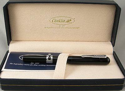 Conklin Heritage Conklinetta Black & Chrome Button-Filler Fountain Pen - F Nib