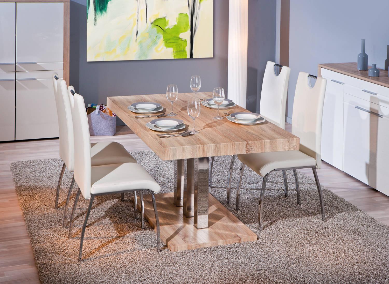 #866845 Table De Salle à Manger Moderne En Métal Chromé Décor  3727 salle a manger moderne en chene 1500x1098 px @ aertt.com