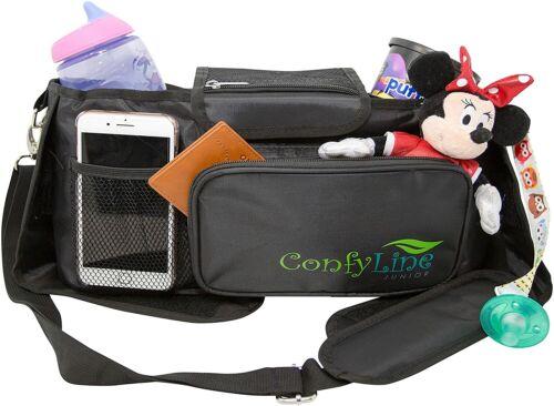 Stroller Organizer, Large Capacity Stroller Bag with Cup Holder Multiple Pockets