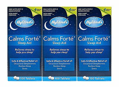 Hyland's Calms Forte Homeopathic Sleep Aid (3 Bottles = 300 Tablets)