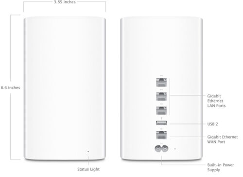 Apple AirPort Time Capsule 2TB Wireless Hard Drive & 802.11ac Wi-Fi Base Station White ME177LL/A