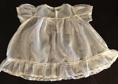 Antique 1950 Sheer White Christening Dress Lace Pink Blue Appliqué Christening Sheer Dress