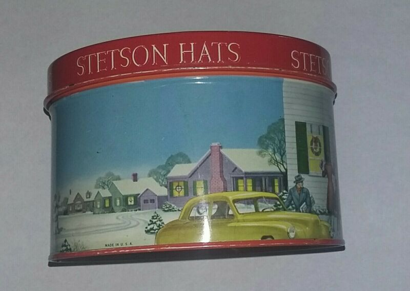 Stetson Hat Box Christmas Tin Miniature Vintage Store Advertising Sample