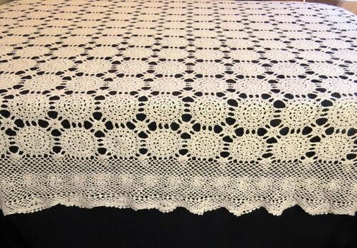 Viintage Cotton Lace Crochet Tablecloth 56x74 Rectangle Beige Cotton