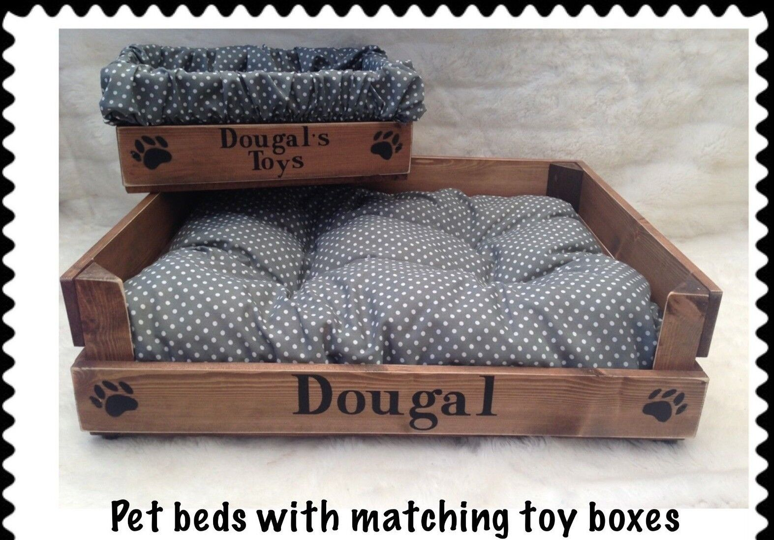 RUSTIC WOOD PET BED & TOY TREAT BOX * PERSONALIZED FOR YOUR