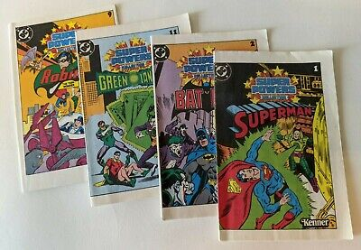 Vintage 1984 Kenner DC Super Powers Mini Comic Books Vivid Colors Superman Batma