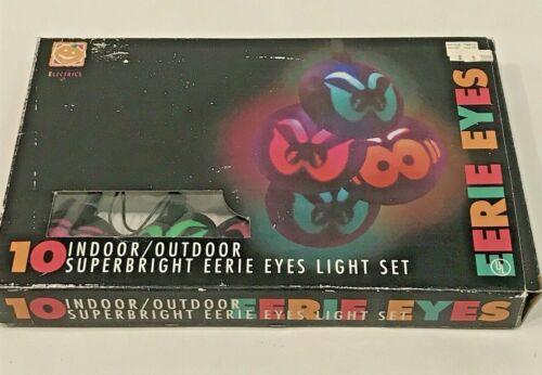 Halloween Lights Vintage Eerie Eyes String Light Set 10 Spooky Light Up 1995