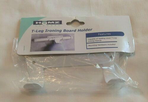 "HOMZ T-Leg Ironing Board Holder, 6"" x 1.5"" x 1.6"", White"