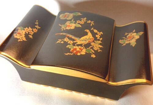 Art Deco Carlton Ware Cigarette Trinket Box Black & Gold Pheasant 1930